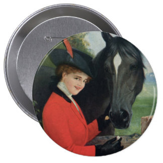 Vintage Horse Girl Red Coat Equestrian Sugar Cube Button
