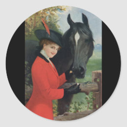 Vintage Horse Girl Red Coat Equestrian Sugar Cube Classic Round Sticker