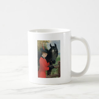 Vintage Horse Girl Red Coat Equestrian Sugar Cube Coffee Mug