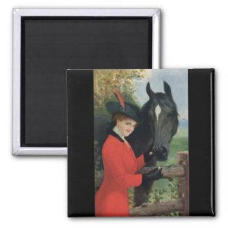 Vintage Horse Girl Red Coat Equestrian Sugar Cube Refrigerator Magnet