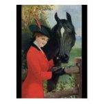 Vintage Horse Girl Red Coat Equestrian Sugar Cube Postcard