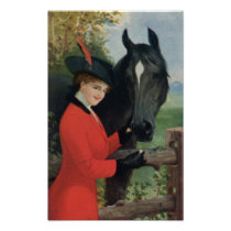 Vintage Horse Girl Red Coat Equestrian Sugar Cube Poster