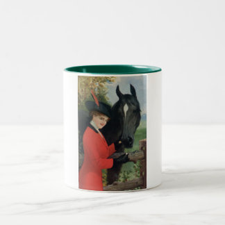 Vintage Horse Girl Red Coat Equestrian Sugar Cube Two-Tone Coffee Mug