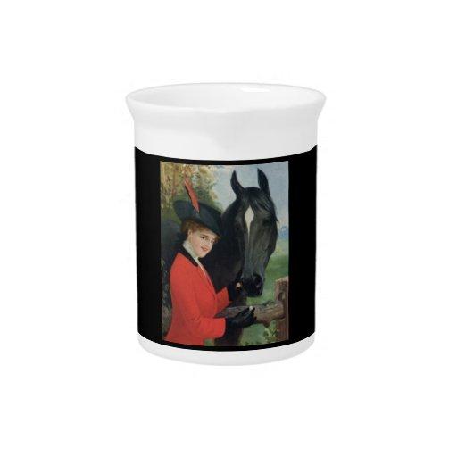 Vintage Horse Girl Sugar Cube Red Jacket Drink Pitcher