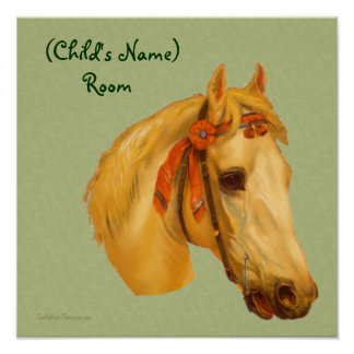 Vintage Horse Head Kids Room Personalized Poster