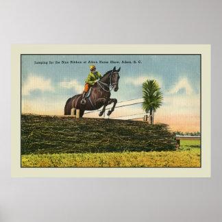Vintage Horse Jumping Aikin SC Poster