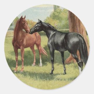 Vintage Horse Mare Stallion Equestrian Classic Round Sticker