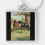 Vintage Horse Mare Stallion Equestrian Key Chains