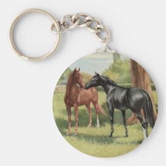 Vintage Horse Mare Stallion Equestrian Keychain