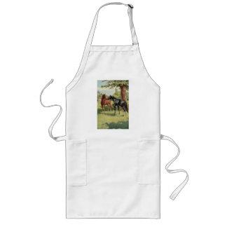 Vintage Horse Mare Stallion Equestrian Long Apron