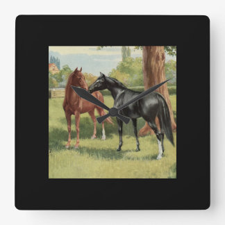 Vintage Horse Mare Stallion Equestrian Square Wall Clock