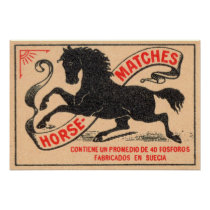 Vintage Horse Matches Label Poster
