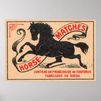 Vintage Horse Matches Label Poster