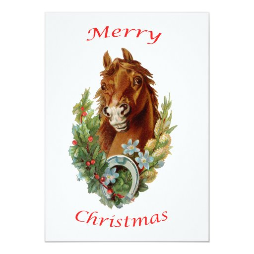 Vintage Horse Merry Christmas Announcements