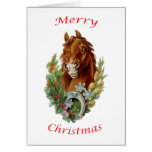 Vintage Horse Merry Christmas Greeting Card