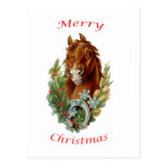 Vintage Horse Merry Christmas Post Card
