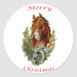 Vintage Horse Merry Christmas Round Stickers