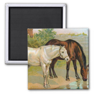 Vintage Horse Painting 2 Inch Square Magnet