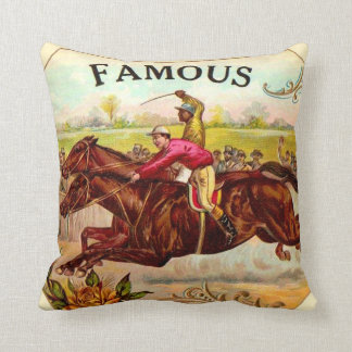 Vintage Horse Racing Thrill of the Race Throw Pillow