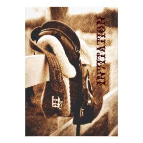vintage horse saddle western country wedding custom invitation