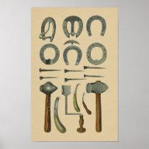 Vintage Horse Shoe Farrier Tools 1898 Print