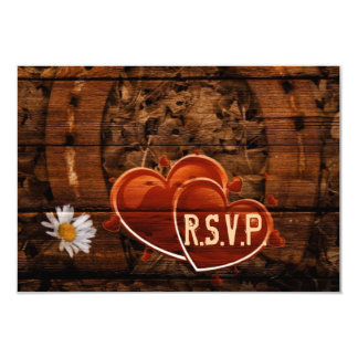 vintage horse shoe hearts western country RSVP Invitation
