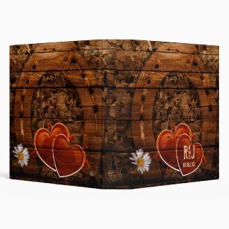 vintage horse shoe hearts western country wedding 3 ring binders