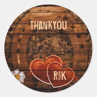 vintage horse shoe hearts western wedding thankyou round sticker