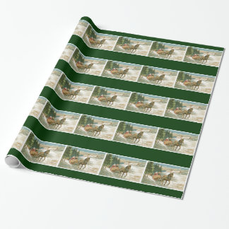 Vintage Horse Sleigh Christmas Gift Wrapping Paper
