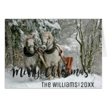 Vintage Horse Sleigh Ride Personalized Christmas Card