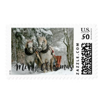 Vintage Horse Sleigh Ride Personalized Christmas Postage