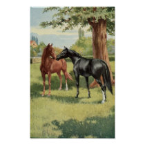 Vintage Horse The First Meeting Equestrian Poster