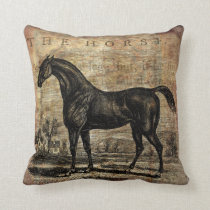 Vintage Horse Thoroughbred and Arabian Horses Throw Pillow