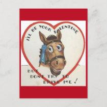 Vintage Horse Valentine Holiday Postcard