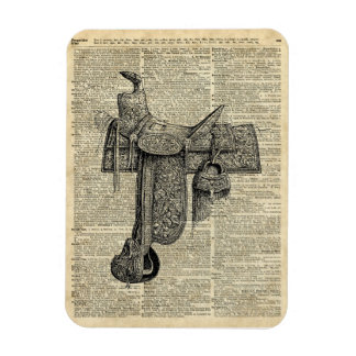 Vintage Horseriding Saddle Dictionary Art Magnet