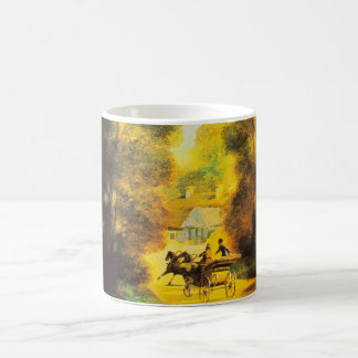 Vintage Horses and Carriage During Autumn Coffee Mug