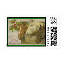 Vintage Horses Christmas Postage Stamps