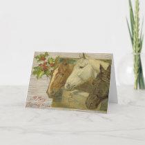 Vintage Horses Merry Christmas Greeting Card
