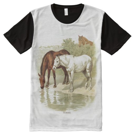 Vintage Horses on the Farm All-Over Print Shirt