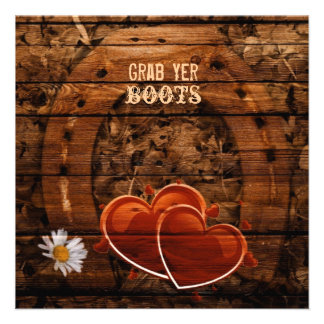 vintage horseshoe hearts western country wedding personalized invitation