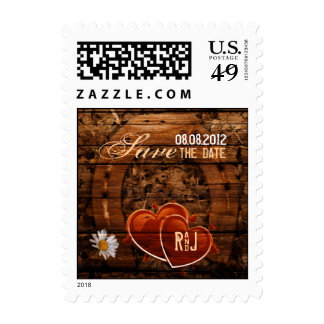vintage horseshoe hearts western country wedding stamp