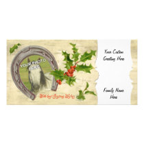 Vintage Horseshoe Holly Custom Card