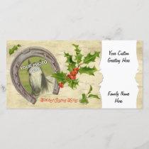 Vintage Horseshoe Holly Custom Holiday Card
