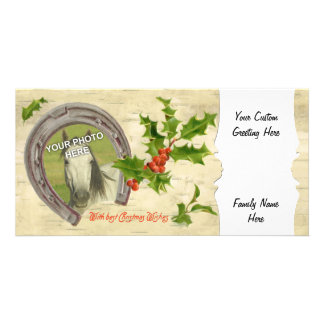 Vintage Horseshoe Holly Custom Photo Card Template