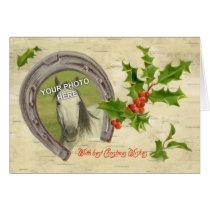 Vintage Horseshoe w/Holly Leaves & Berries Frame Card