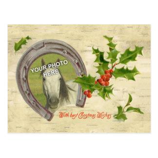 Vintage Horseshoe w Holly Leaves Berries Frame Postcard