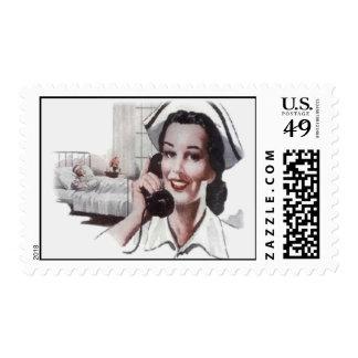 Vintage Hospital Floor Nurse on Telephone Postage