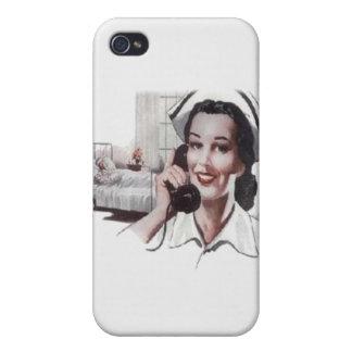 Vintage Hospital Ward Nurse on Telephone Case For iPhone 4