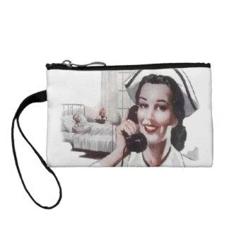 Vintage Hospital Ward Nurse on Telephone Coin Wallet