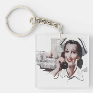 Vintage Hospital Ward Nurse on Telephone Keychain
